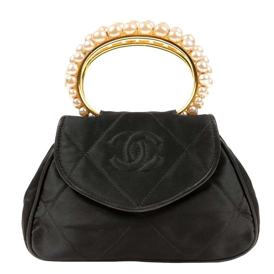 6b499e8e9 Chanel Vintage Pearl Handle Black Silk Evening Bag | Age of Gabby ...