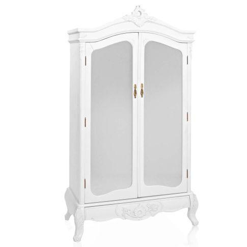 Kleiderschrank mit Spiegel, Barock-Stil, Kleiderstange, MDF - schlafzimmerschrank landhausstil weiß