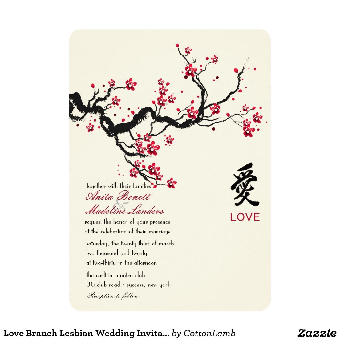 Love Branch Lesbian Wedding Invitation 5 X 7 Card: Cherry Blossom Wedding Invitation Kit At Reisefeber.org