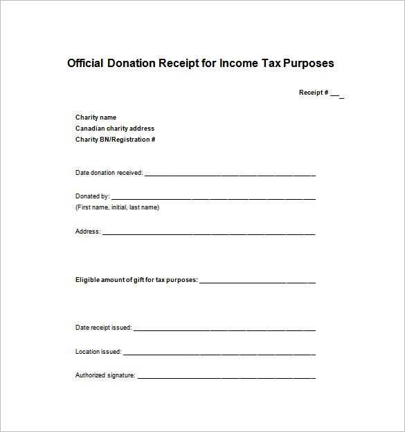 Tax Donation Receipt Template , Receipt Template Doc for Word - payment slip format free download