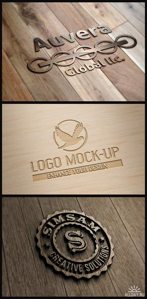 Wooden Logo Mock Ups Laser Engraved Wall Sign 3d Logo