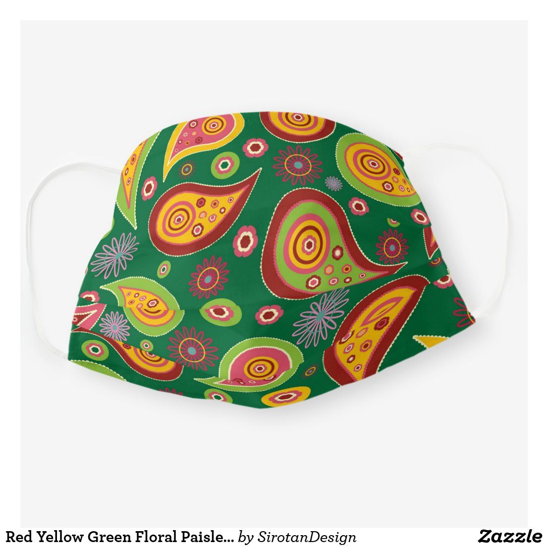 Red Yellow Green Floral Paisley Pattern Cloth Face Mask
