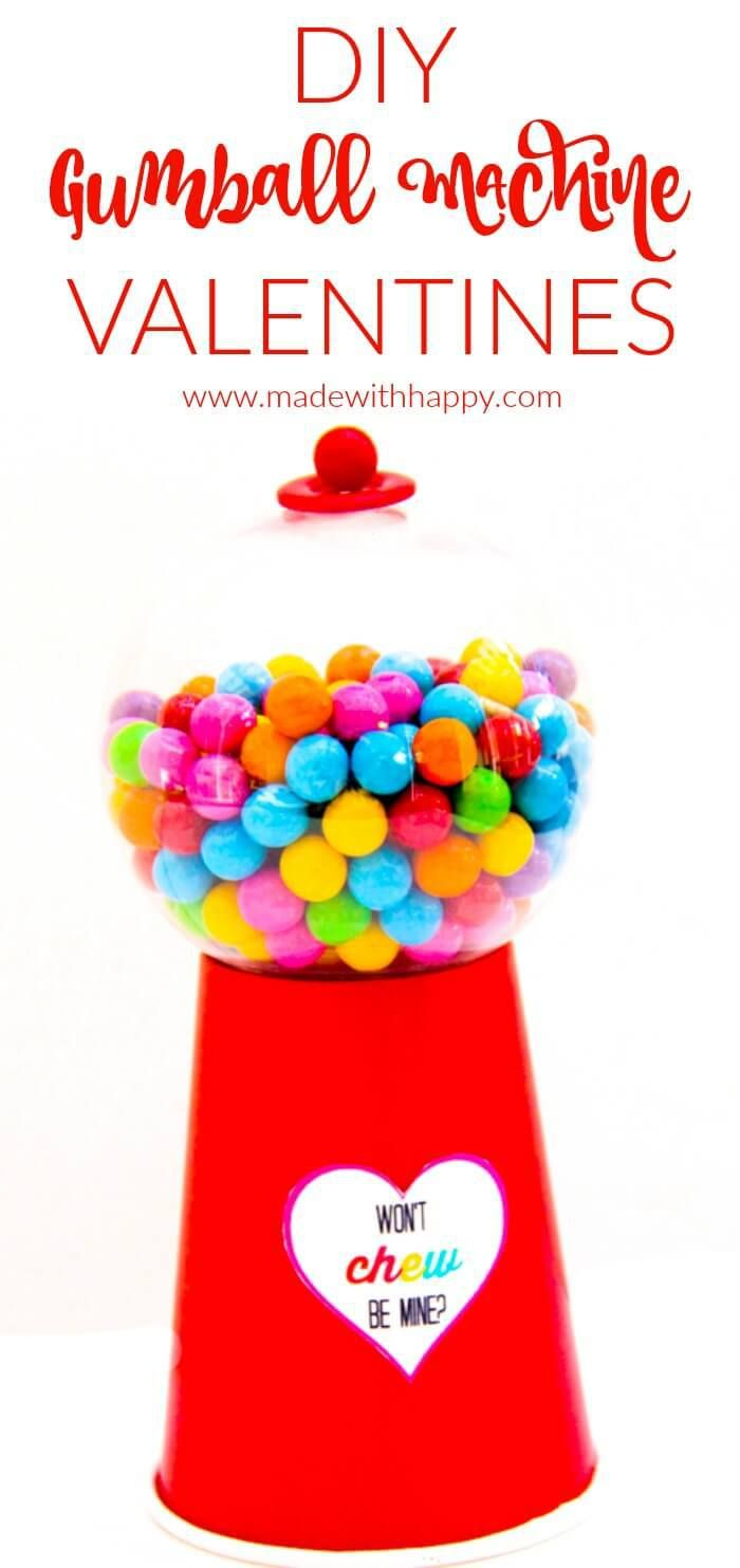 DIY Gumball Machines Valentines Idea. Along with a free printable, we have a fun little DIY Valentines.