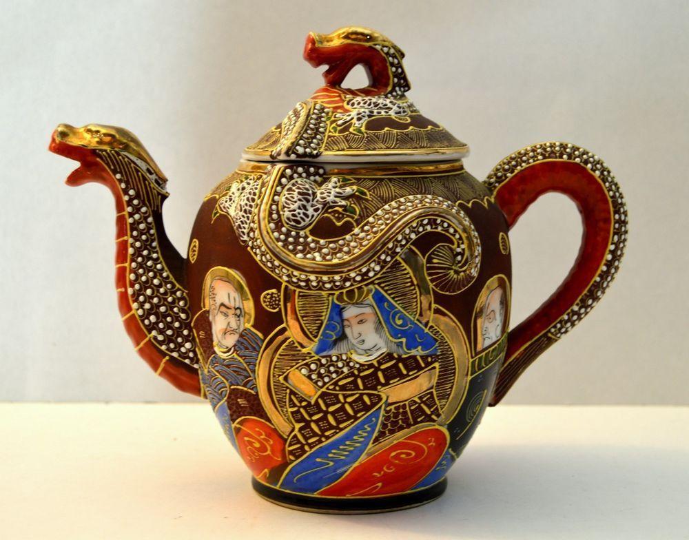 Vintage Kutani Dragon Moriage Geisha Girl Dragon Teapot