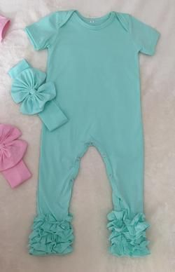 9745a042ad6c Icing Romper-Mint with Matching Bow Headband