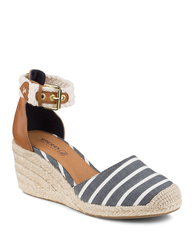 Sperry Espadrille Wedge Sandals Valencia Striped