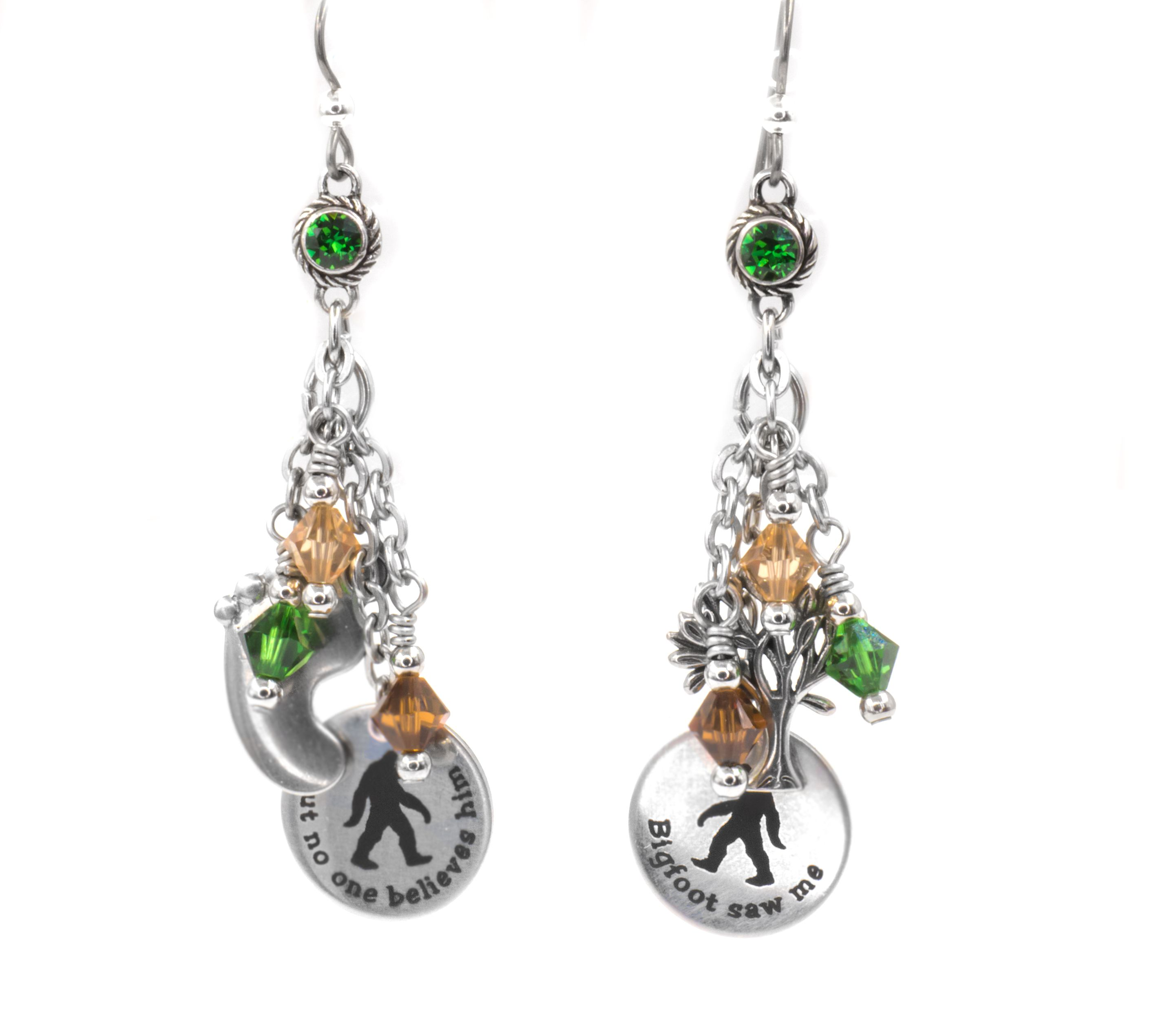 Surgical Steel Wires Celtic Emerald teardrop crystals on Chandelier Earrings