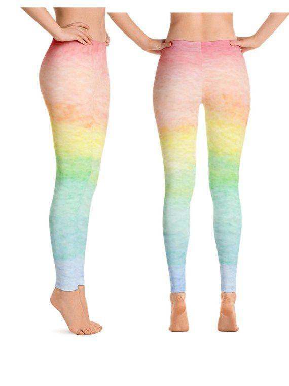 bd698bedea2e Pastel Rainbow Leggings for Women, Rainbow Yoga Leggings, Ombre Rainbow  Leggings, Rainbow Workout Pa