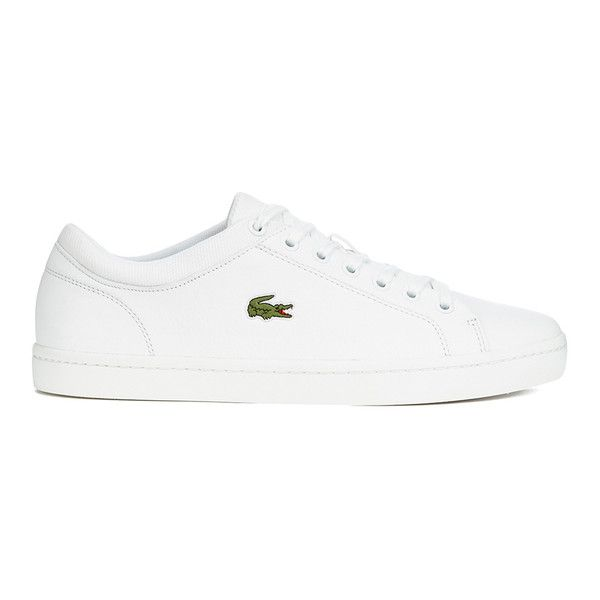 dbf84272fb Lacoste Men's Straightset SPT 116 1 Leather Trainers - White (230 ILS) ❤  liked on Polyvore featuring men's fashion, men's shoes, men's sneakers,  men, ...