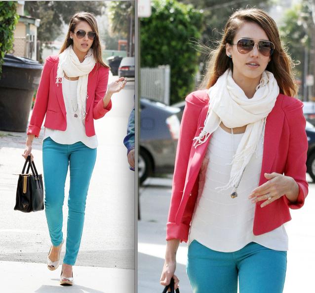 jessica alba - pink blazer turquoise jeans