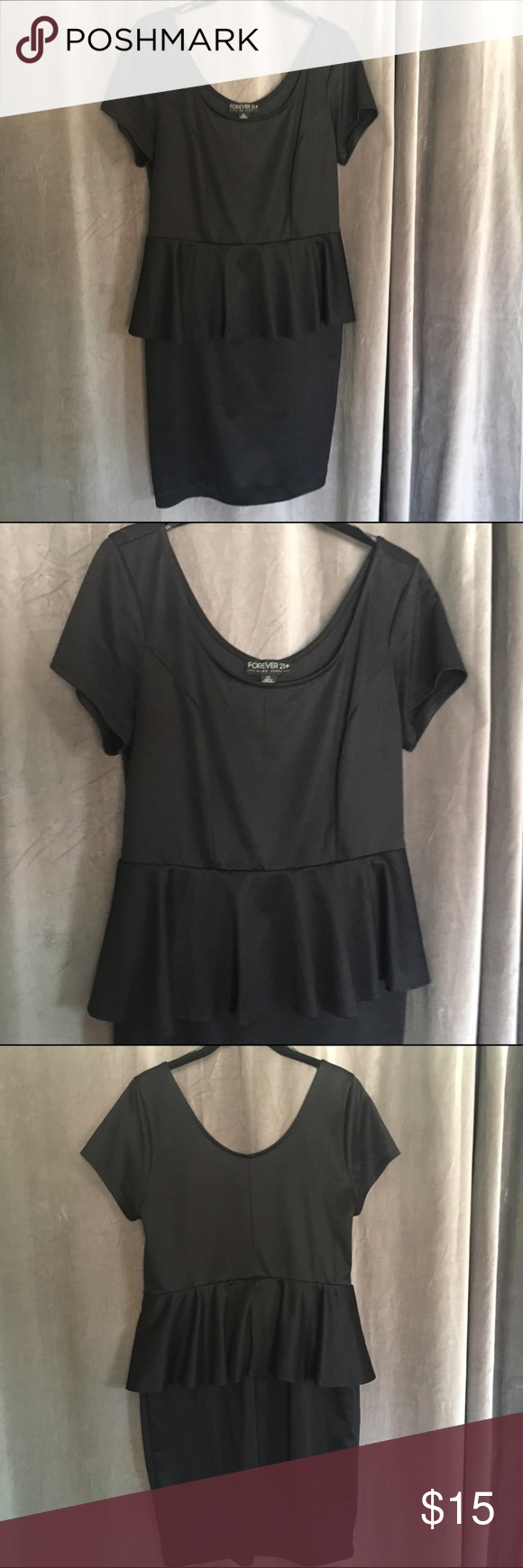 F21 Black Peplum Dress Black peplum dress! Worn once to a formal, in great condition! Tight fitting, but the peplum is flattering! Scoop neck and back! Forever 21 Dresses