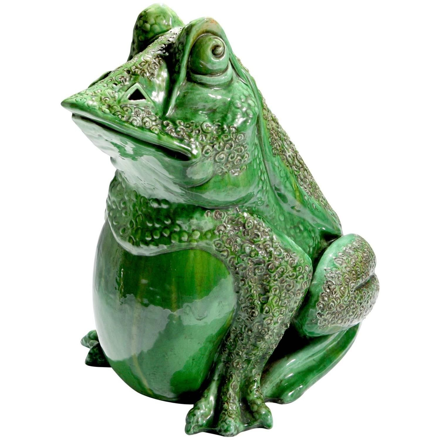 Seated Majolica Frog From a unique collection of antique