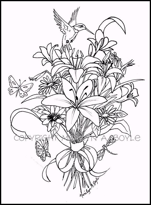 ADULT COLORING PAGE Bouquet Of Flowers Hummingbird Butterflies