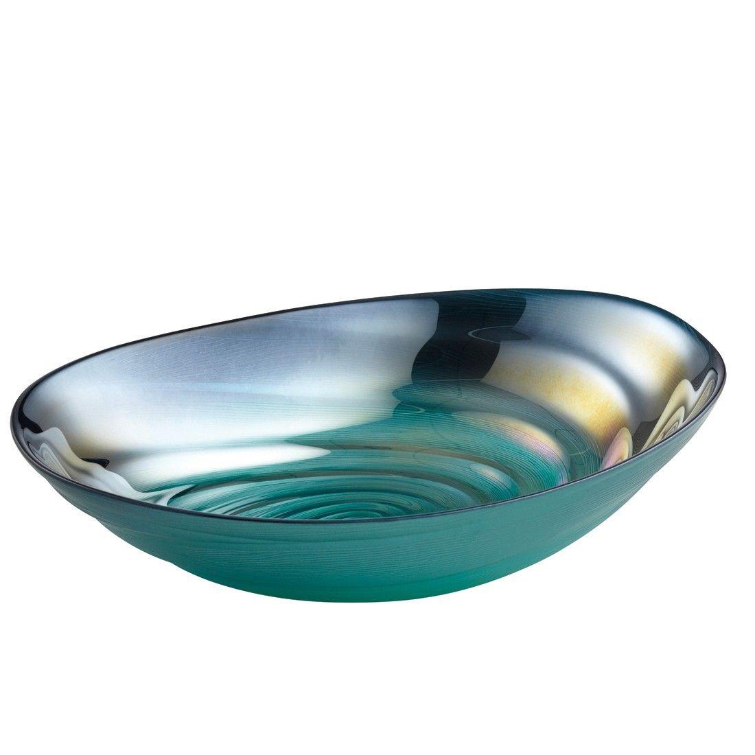 Perla Bowl Oval Teal 32cm Decorative Bowls Blue Glass Bowl