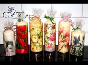 Candele Fai Da Te Tutorial.This Tutorial Will Show You How Easily Decorate Candles With Napkins