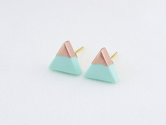 Mint Rose Gold Dipped Triangle Stud Earrings Mourning The Loss Of My Other Turquoise Flower
