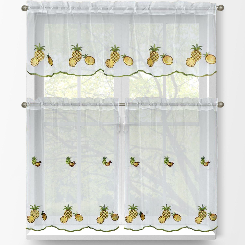 Sunflowers 3 Piece 24l Tiers Valance Set Kitchen Curtains