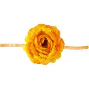 Rose orange sur ruban organdi orange 20 cm les 4, déco, fleur, rose orange en tissu, mariage, wedding, baptême, baby shower