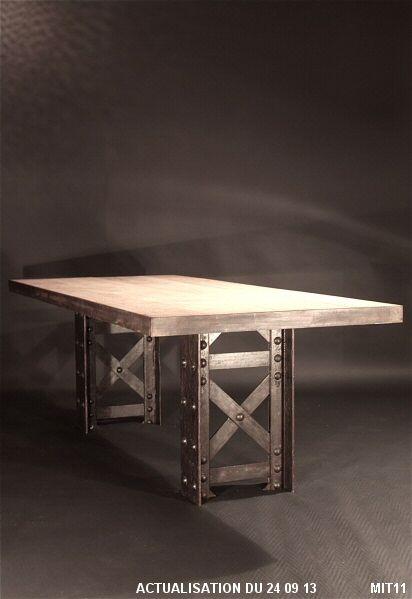 Table A Manger Rectangulaire Pietement 1900 Poutrelle Rivetee