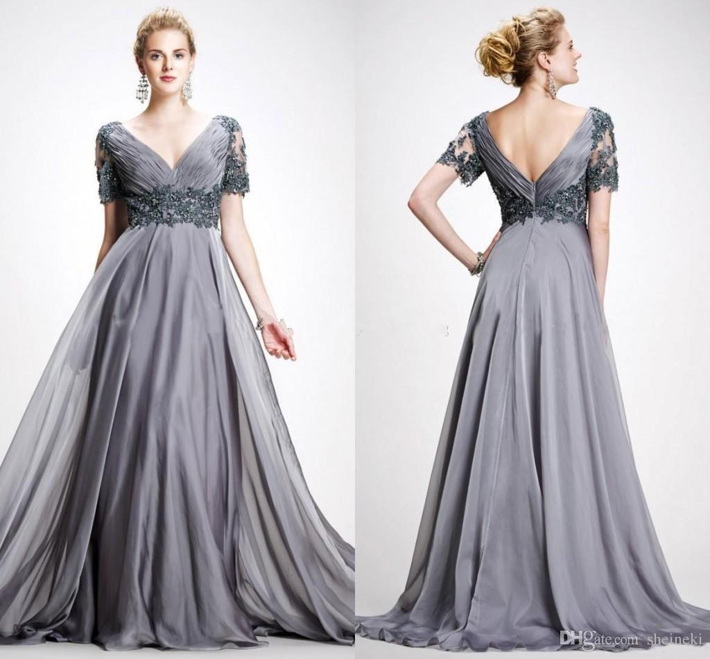 sexy silver a line deep v neck chiffon long elegant lace