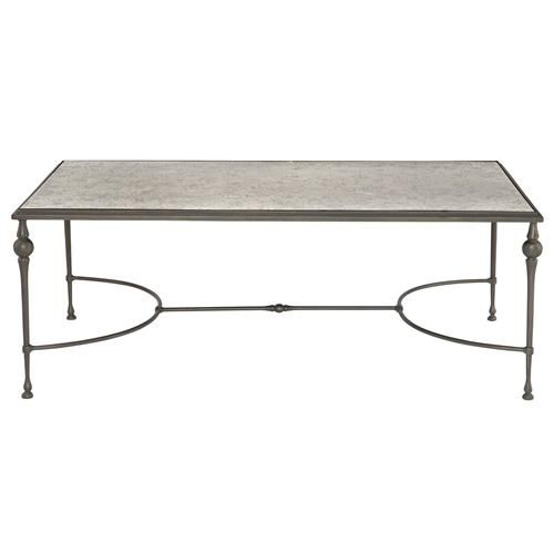lala industrial regency antique silver mirror coffee table
