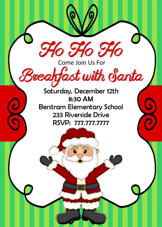 Breakfast With Santa Invitation Santa Party Invitation Etsy Christmas Invitations Template Christmas Party Invitations Santa Invitations