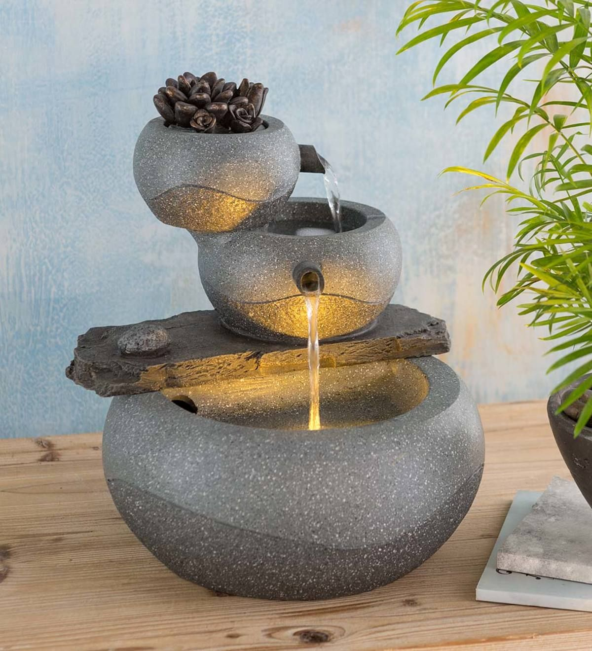 Soothe Your Senses With This Serene Lighted Three Tier Indoor Fountain Designed To Resemble Cast St In 2020 Indoor Fountain Indoor Fountains Indoor Tabletop Fountains