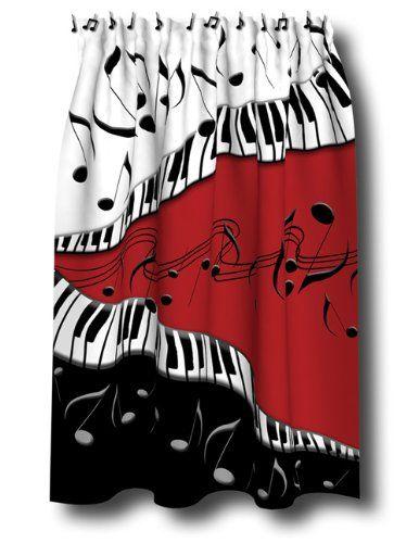 PIANO Keys MUSICAL Note SHOWER Curtain JAZZ Red Blk NEW Borders Unlimited Amazon Dp B00276J80I Refcm Sw R Pi JwpQtb07GP3QXKHA
