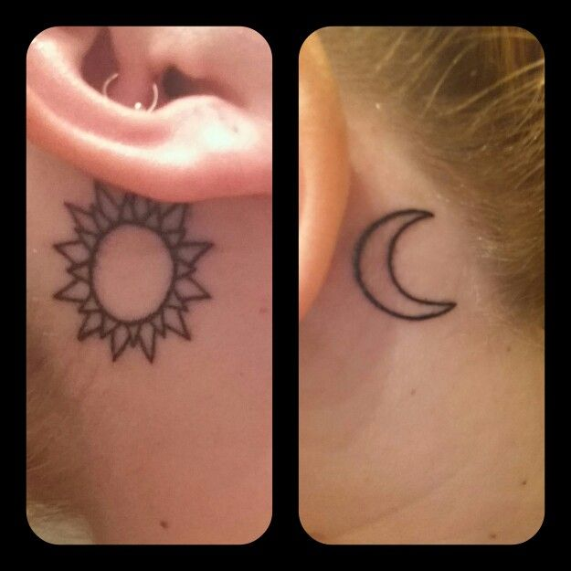 Sun And Moon Tattoos Behind Each Of My Ears With Images Tattoos