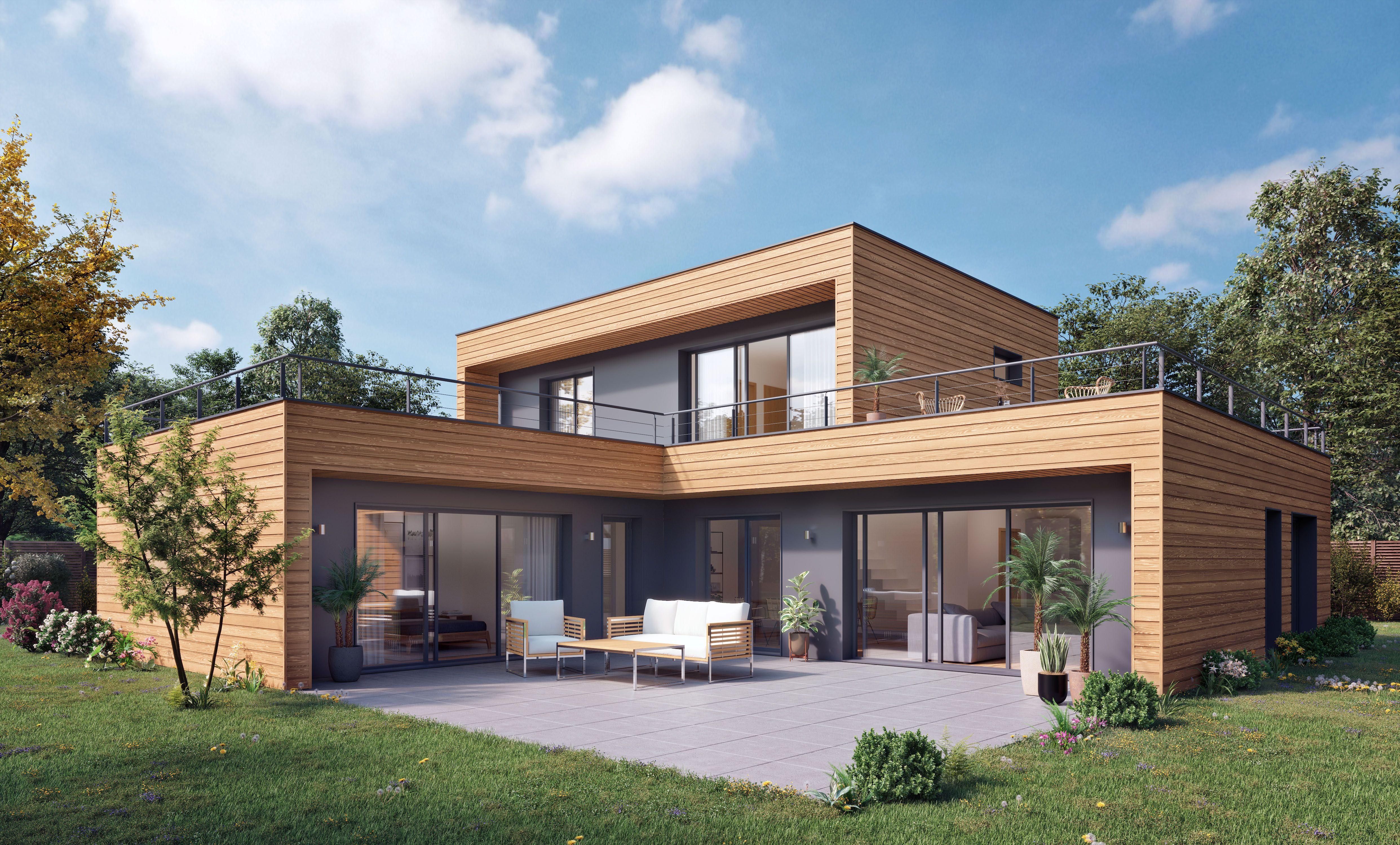Maison moderne à ossature bois & bardage bois   Maison ossature ...