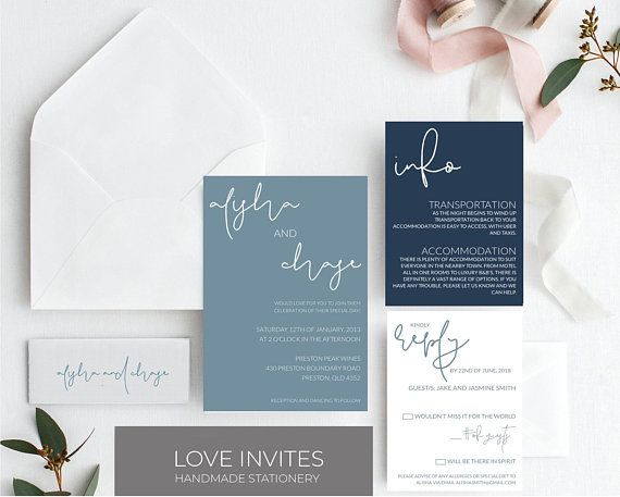 Dusty blue wedding invitation navy and slate wedding invite