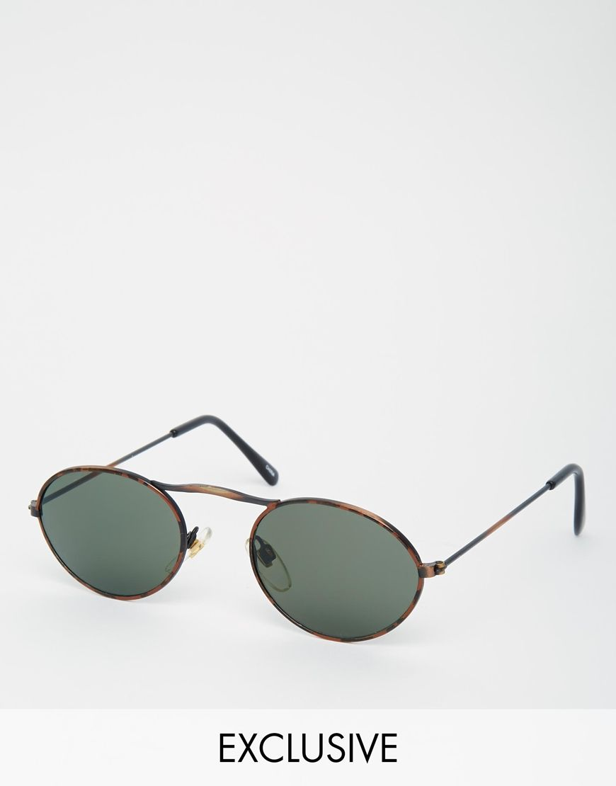 Sunglasses by Reclaimed Vintage Lightweight tortoiseshell frames Adjustable silicone nose pads for added comfort Dark tinted lenses Slim arms with curved temple tips for a secure fit Lens size: 50mm Total UV protection Products vary due to reclaimed nature