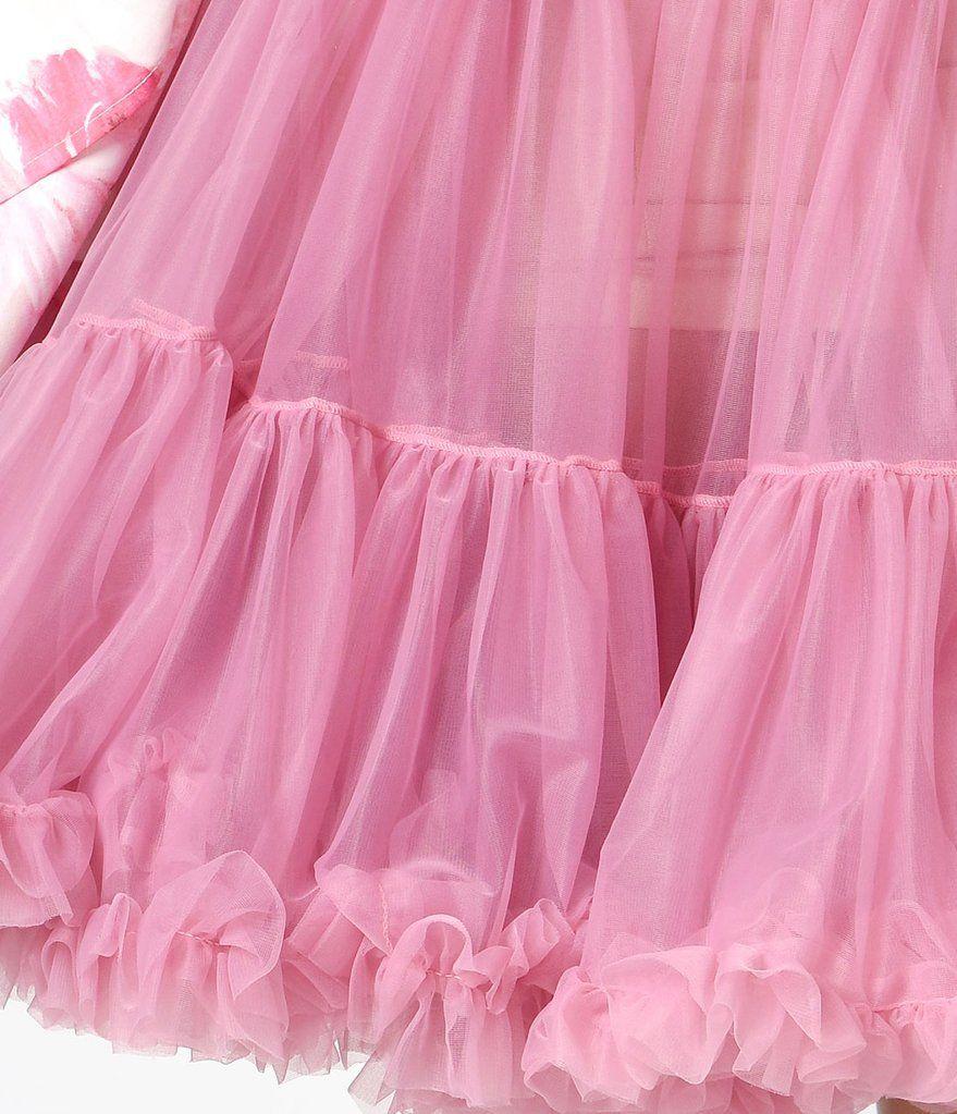 1950s Style Dusty Pink Tea Length Ruffled Chiffon