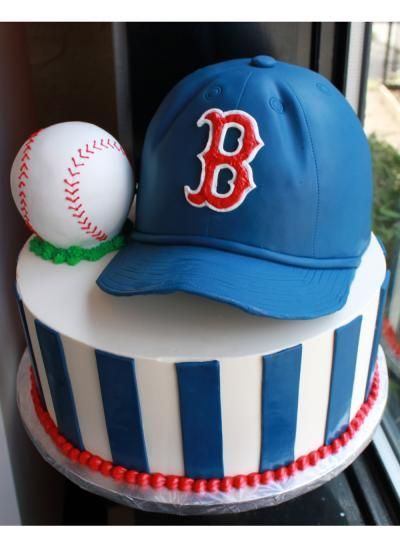 Just Do The Blue Stripes On Bottom Tier Boston Red Sox Grooms Cake By Whipped Bakeshop In Philadelphia