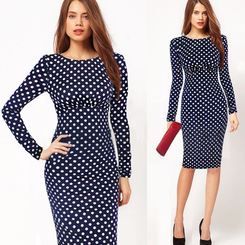 Fashion Women Clothes 2015 Polka Dot Houndstooth Print Women Dresses ...
