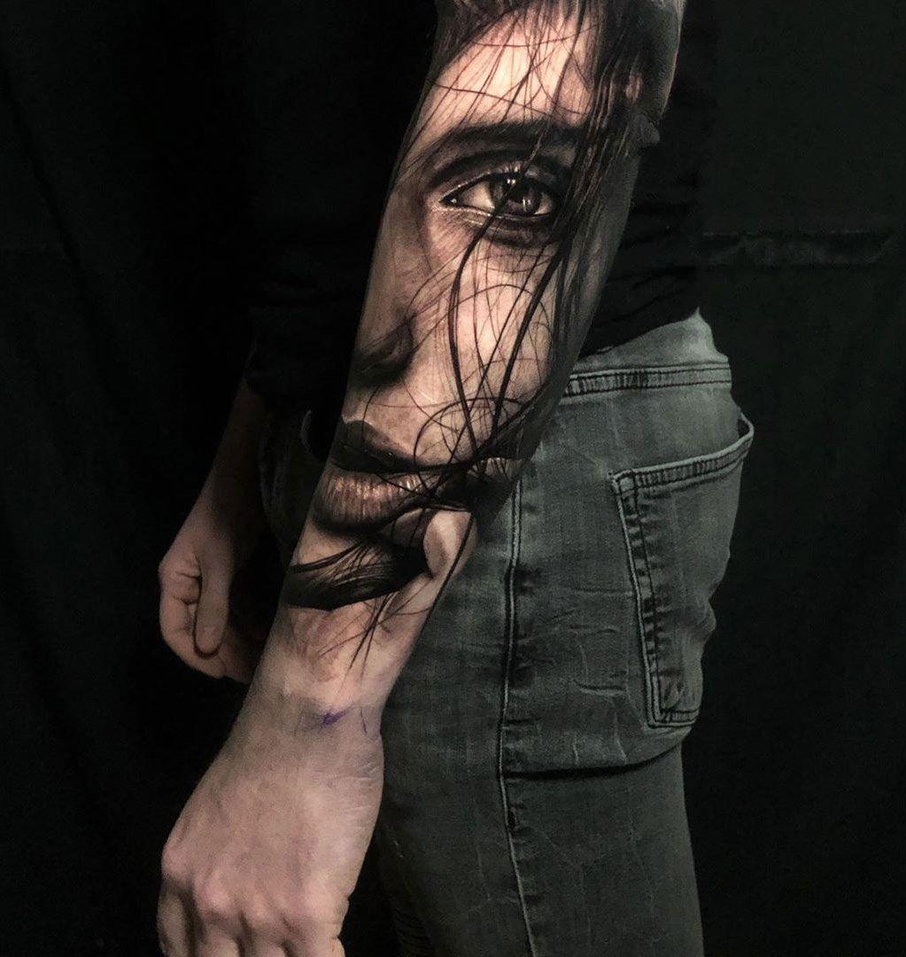 Realistic Portrait Arm tattoo, Girl face tattoo, Tattoos