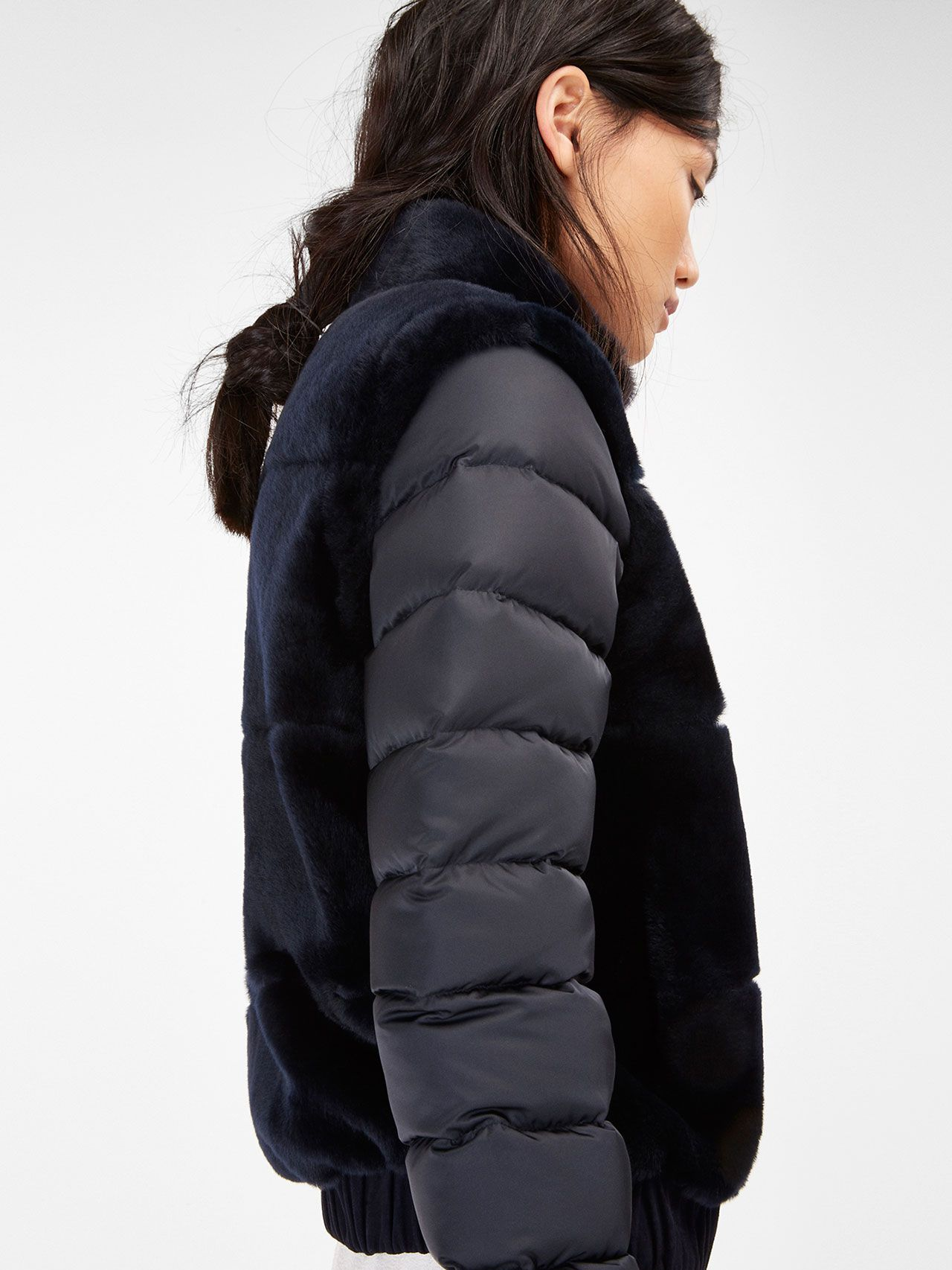 QUILTED JACKET WITH MOUTON FUR BODY AND DETACHABLE SLEEVES
