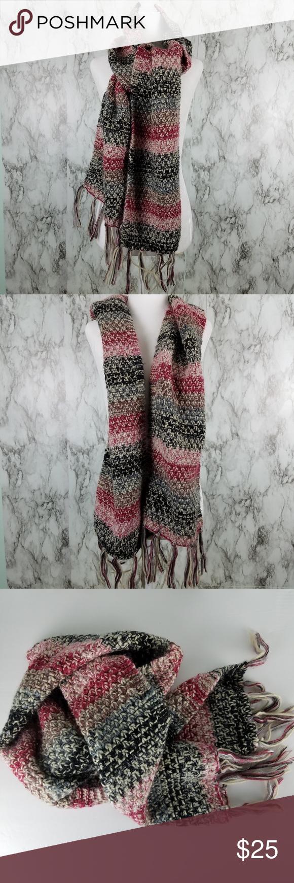Photo of Lane Bryant Multi Fringe Crochet Strickschal Lane Bryant warme mehrfarbige Häkelarbeit …