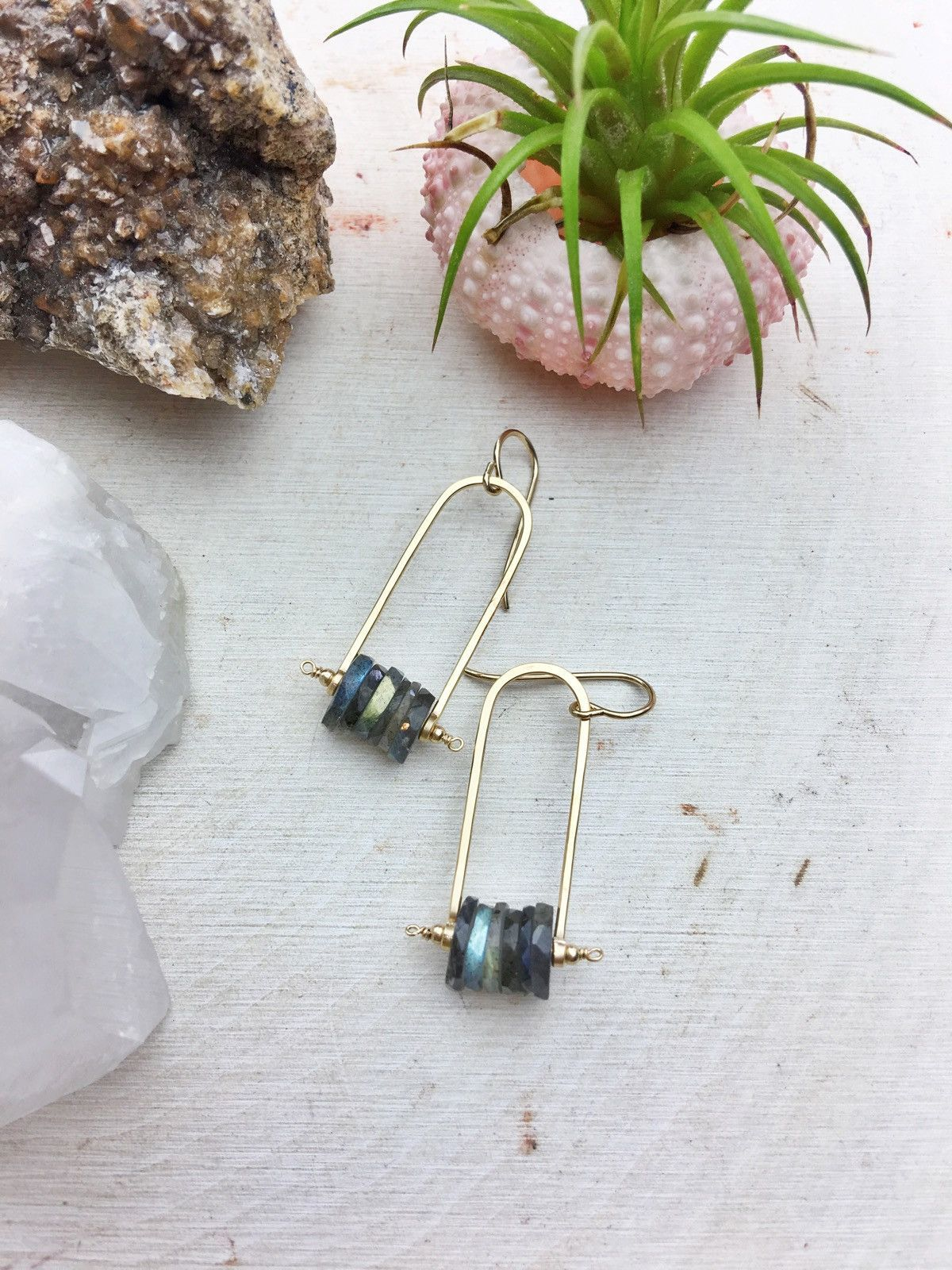 Photo of Golden State Earring B – Labradorite Cluster 14k Gold Fill