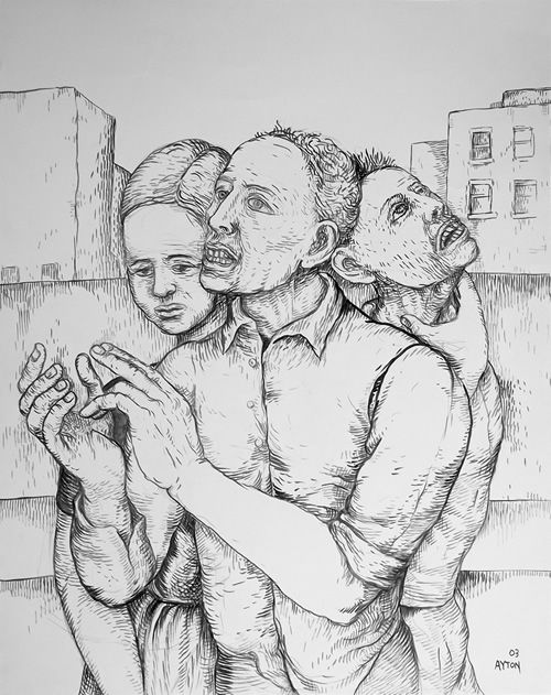 The Unhappy Ones, 2003, brush & ink on paper by William T. Ayton.