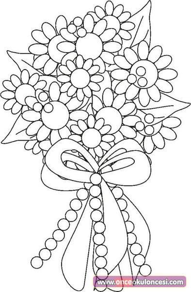 öğretmenler Günü Için çiçek Buketi Boyamaları öğretmenim