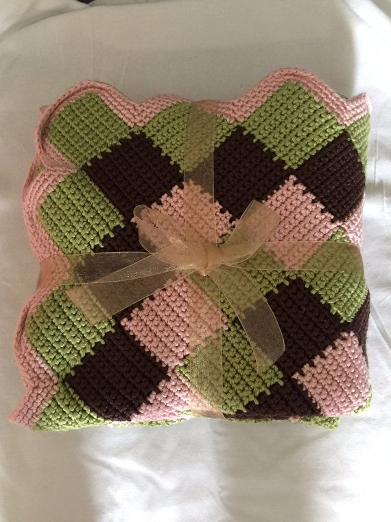 Entrelac baby blanket for girl by 3lifetimesofcrafts on Etsy