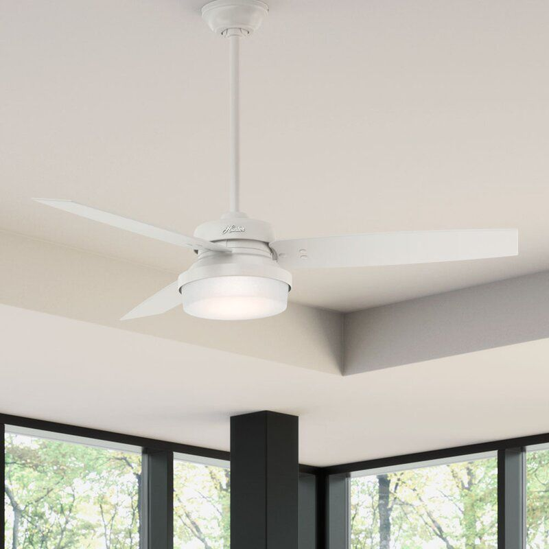 Hunter Fan 52 Sentinel 3 Blade Led Ceiling Fan With Remote Light Kit Included Reviews Wayfair Ceiling Fan With Remote Ceiling Fan Led Ceiling Fan
