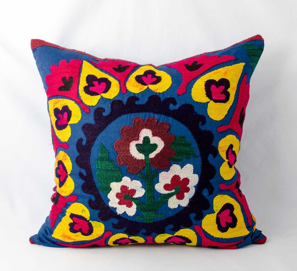 19x19 inches Vintage suzani pillow cover, handmade silk embroidery ...