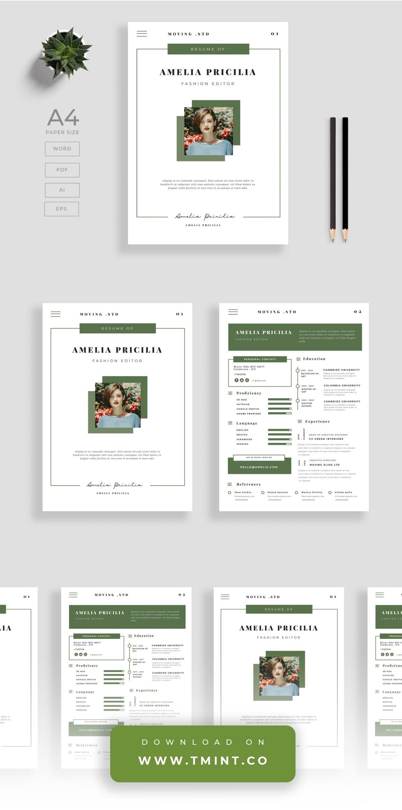 Resume Template 007 Resume template, Templates, Flyer design