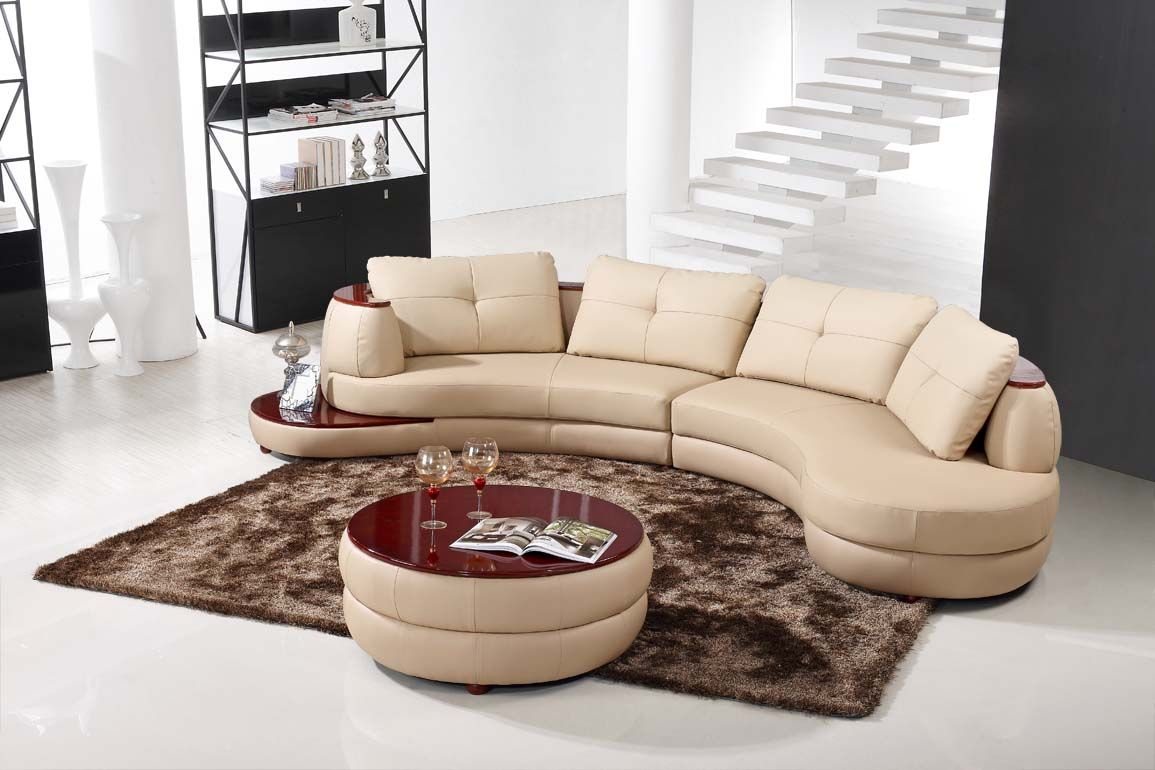 Contemporary Beige Leather Sectional Curved Sofa with Round Modern Ottoman : round sectional sofa - Sectionals, Sofas & Couches