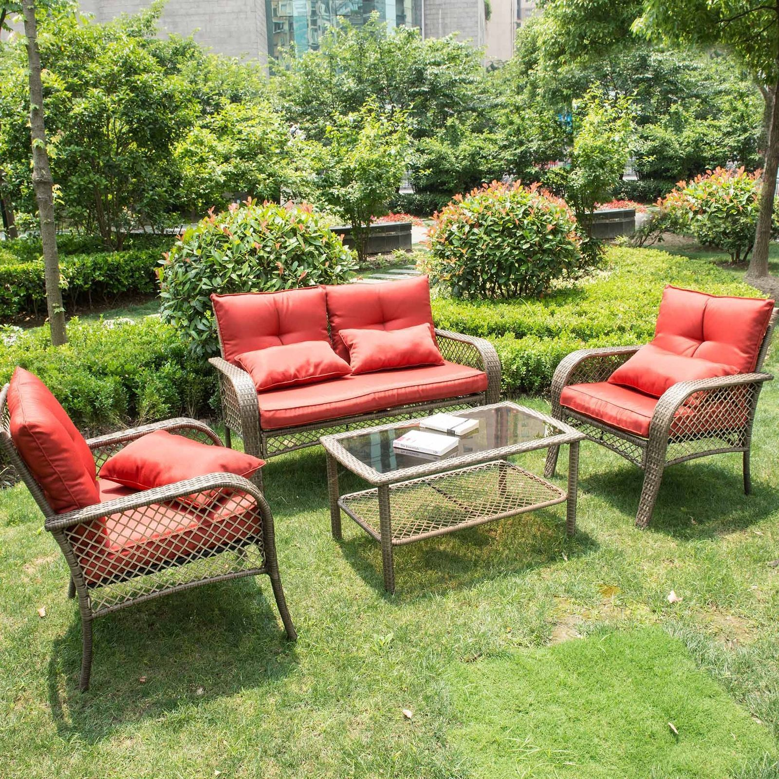 Rattan Furniture Set Patio Cushioned Sofa Outdoor Indoor Rocking