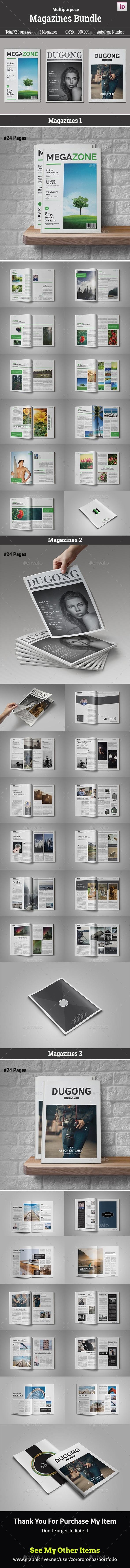 Magazines Bundle Vol.III  — InDesign Template #fashion • Download ➝ https://graphicriver.net/item/magazines-bundle-voliii/18149709?ref=pxcr