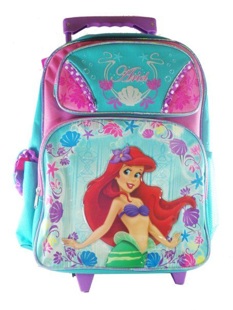 4c4ac5d052 Amazon.com: Full Size Pink and Turquoise Ariel Rolling Backpack - Little  Mermaid Luggage with Wheels: Toys & Games