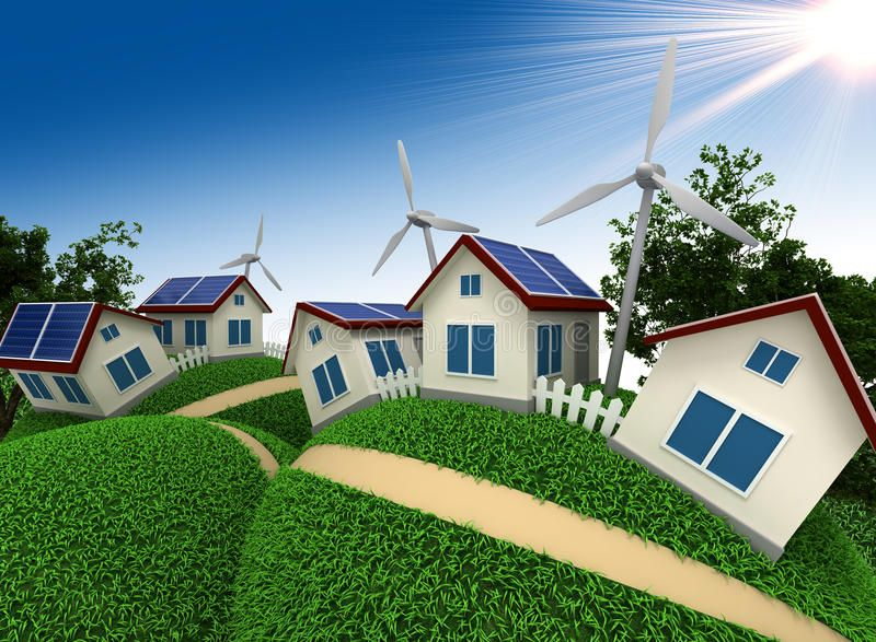 Hi Tech Settlement Three Dimensional Model Of Abstract Village Which Is Constru Aff Model Abstrac Residential Solar Solar Power House Geothermal Energy